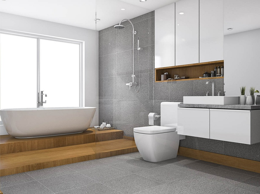 3d rendering wood step bathroom and toilet near window